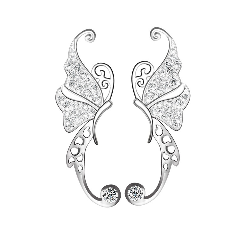 925 純銀耳飾 韓風配飾鏤空蝴蝶銀飾鑲鑽耳釘耳環