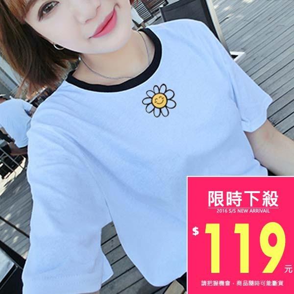韓款短袖小花圖案印花領口黑邊T 恤~TJA4163 ~TJSHOP