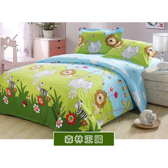~森林王國~100 MIT 精製舒柔棉單人雙人加大薄床包涼被套組床包被套組鋪棉床包兩用被
