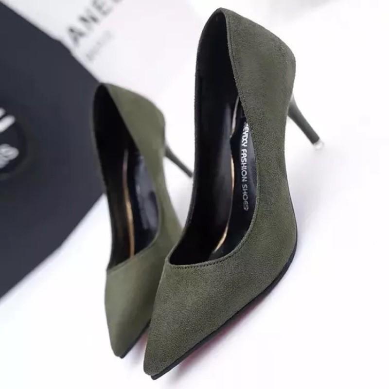 女鞋職業黑色尖頭高跟鞋女細跟中跟單鞋真皮絨面磨砂