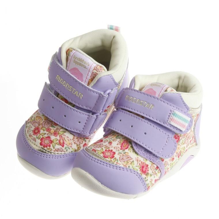 Moonstar Carrot 紫色浪漫花園中筒寶寶機能學步鞋12 5 14 5 公分