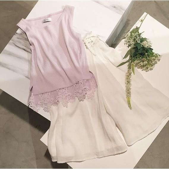 帶回dazzlin 專櫃正品超美刺繡下擺針織背心紫色 未拆