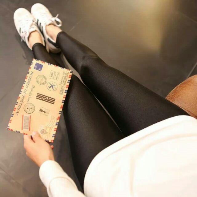 葡萄牙光澤褲超顯瘦內搭褲薄款九分打底褲信封褲光澤褲