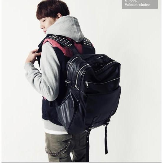 原創 鉚釘雙肩書包潮男 學生英倫背包旅行大容量 包書包肩背包側背包公事包男商務包男生包包男