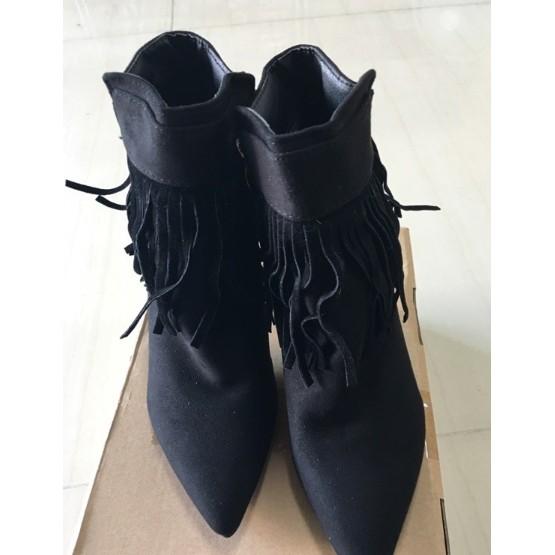 302 020 細跟短靴尖頭高跟流蘇短筒踝靴36 黑色