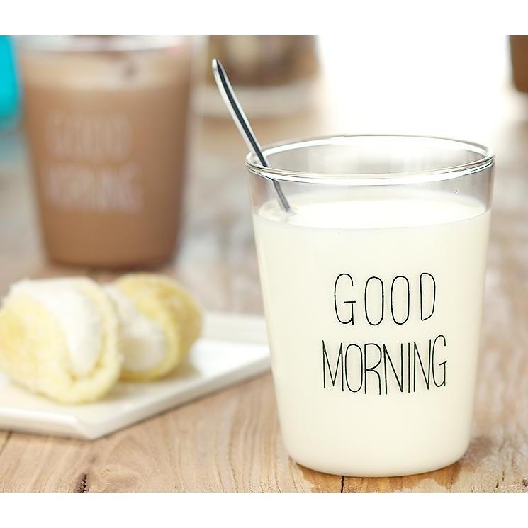 ~幸福馨物~極簡 Good Morning 早安字樣耐熱玻璃杯透明杯