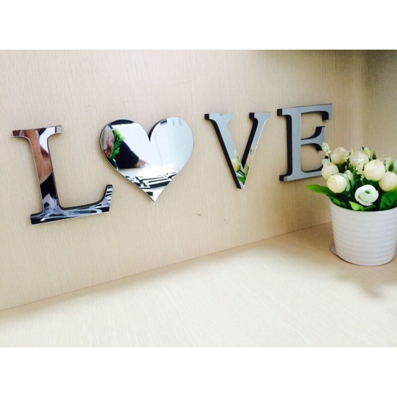 LOVE HOME 字母鏡面貼26 個英文字母3D 立體愛心EVA 壓克力鏡子裝飾開店裝潢