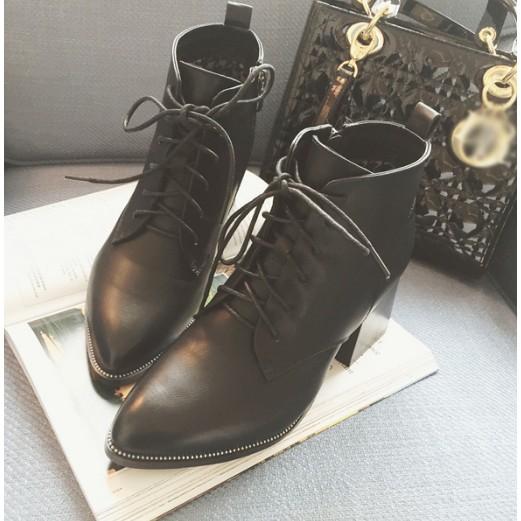 2016 女鞋秋 粗跟短靴女棉鞋英倫風高跟馬丁靴潮女靴子短筒~東京戀歌~靴筒內