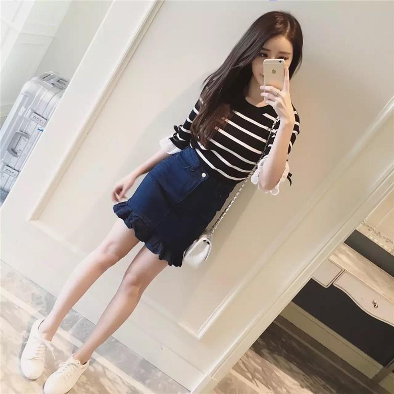 1 超美韓國套裝S L 針織流蘇魚尾裙包臀牛仔裙條紋上衣橫條寬鬆顯瘦甜美兩件式短裙A 字裙