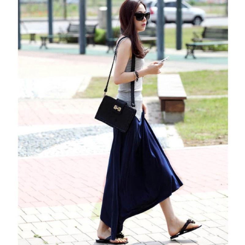 酸檸檬 發莫代爾寬鬆高彈柔滑口袋長款半身裙鬆緊繫繩大擺裙