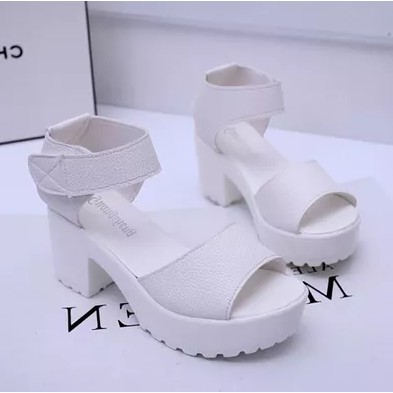 2017 夏高跟女鞋粗跟魚嘴松糕涼鞋防水臺厚底羅馬涼鞋白色