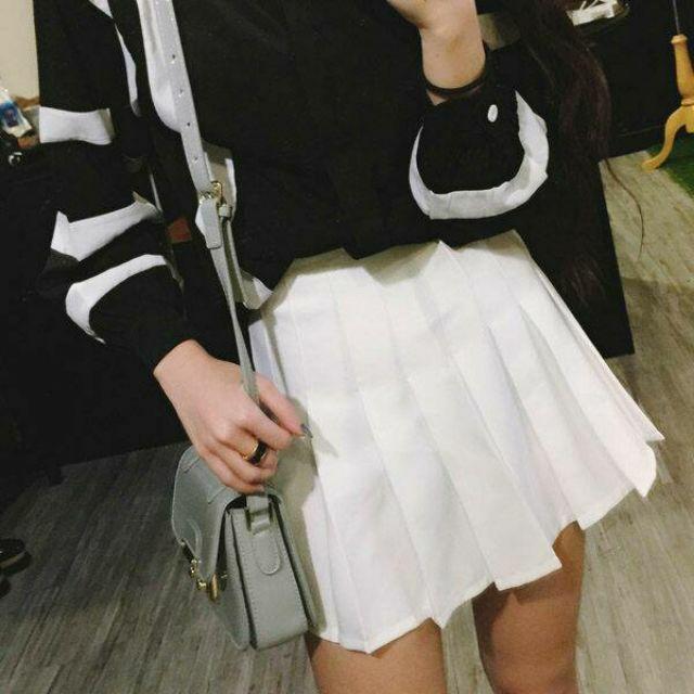 韓風甜美百折裙黑白粉藍粉淺灰果綠