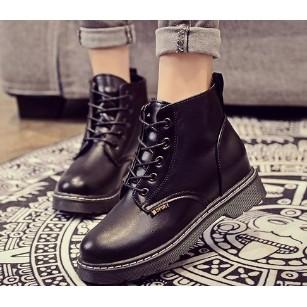 2016 馬丁靴潮女短靴 加絨保暖學生系帶棉鞋雪地棉靴子女鞋