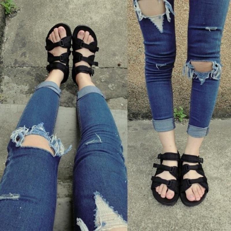Ulzzang 韓國越南泰國羅馬織帶涼鞋魔鬼氈帆布織帶