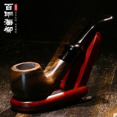 黑檀木煙鬥彎式煙絲 鬥 過濾可清洗男士煙具