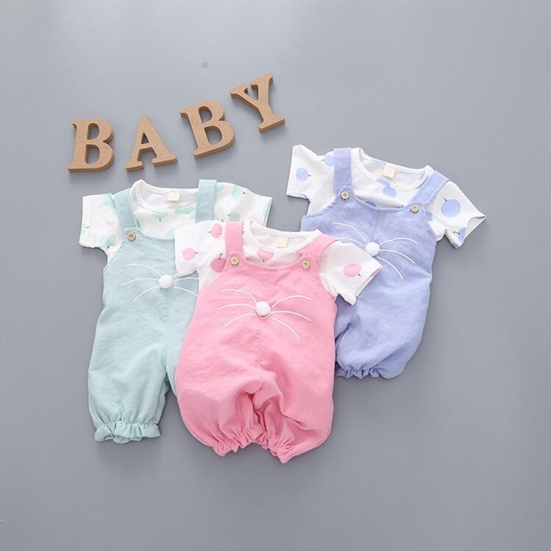 男女寶寶氣球款短袖夏裝揹帶褲套裝嬰兒棉麻套裝女 純棉