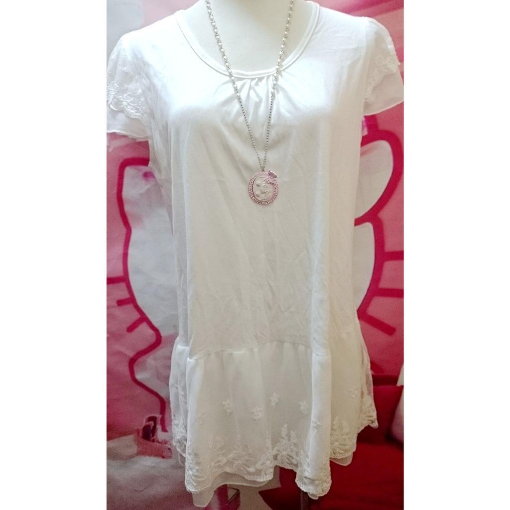 白色圓領雪紡拼接緹花紗網洋裝連身裙內搭襯裙蕾絲滾邊長版寬鬆上衣T 恤甜美單穿百搭