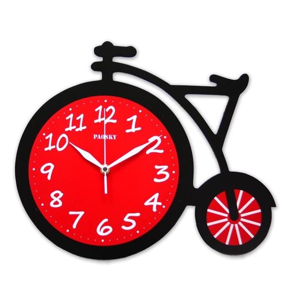MIT 製 活力自行車原木掛鐘實木腳踏車 數字電子時鐘活潑可愛 品味居家風格 師壁鐘 靜音
