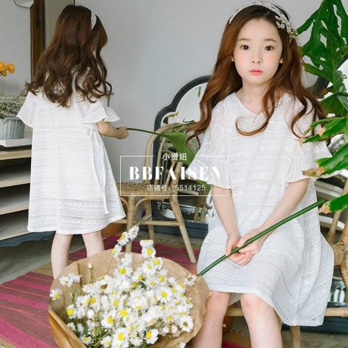 iKIDS ♬2017  女童中童大童清新白色純淨天使洞洞公主連衣裙洋裝親子裝