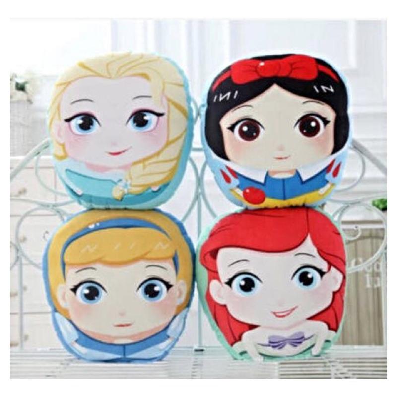 迪士尼公主毛絨抱枕可愛ELSA 美人魚白雪公主靠墊40cm