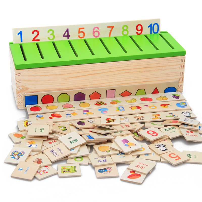木制數字形狀 配對積木知識分類盒子幼兒童早教益智力玩具教具