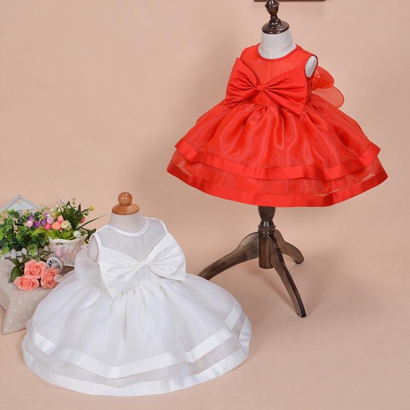 曈曈Baby 2016  嬰兒禮服寶寶公主裙滿月周歲花童婚紗連衣裙紅色紗裙