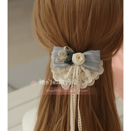 DIY 蝴蝶結頭飾森林系玫瑰蕾絲布藝森女髮夾髮飾唯美小清新