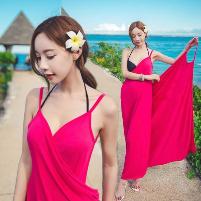 波西米亞深V 露背性感吊帶裙沙灘比基尼防曬罩衫長裙泳衣泳裝浴巾裙
