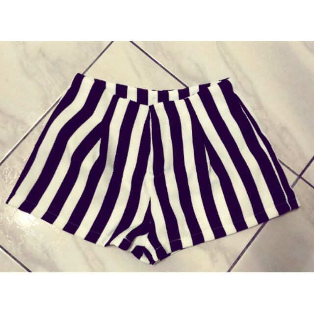 百搭 黑白條紋直紋短褲高腰