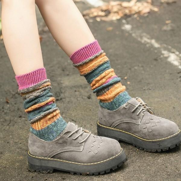 民族風條紋混色保暖襪L078 中長襪堆堆襪中筒襪馬靴襪襪套襪子5 色❤QQ 好貨❤
