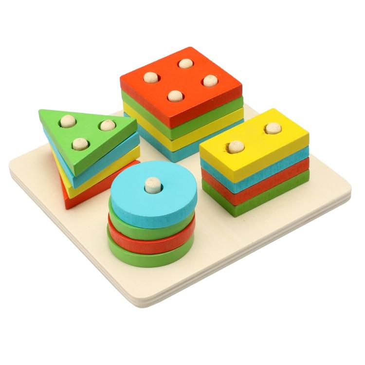 兒童益智木製幾何智力板寶寶玩具形狀配對套柱積木