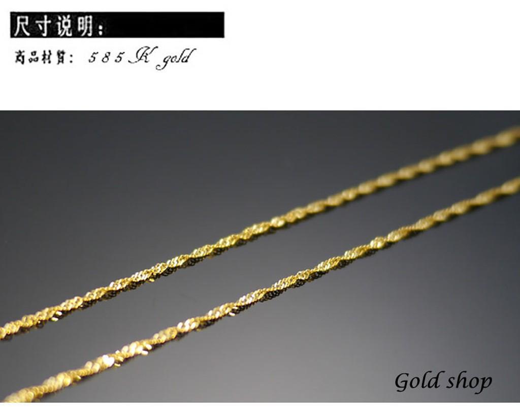 ╭~gold shop ~╯義大利585 黃K 金項鍊長度40 公分各種尺寸皆可 kn00