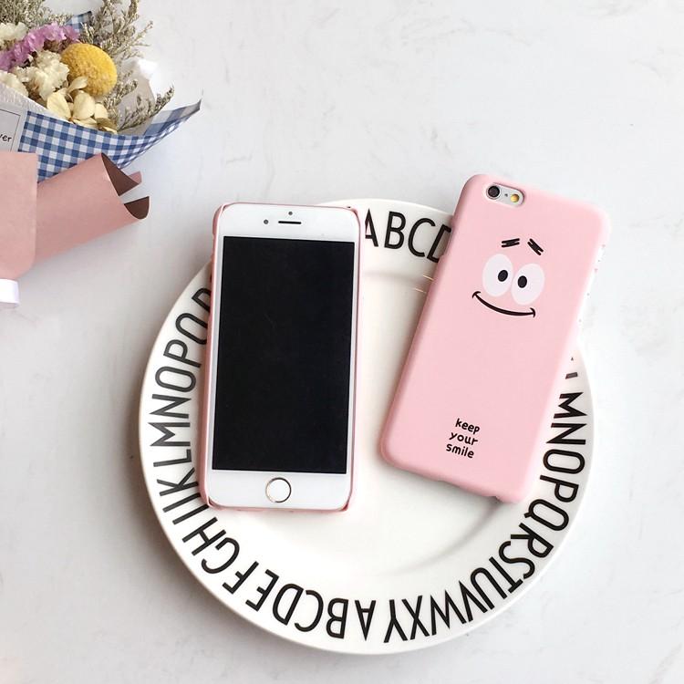 iPhone7 ⃣️韓國趣味大眼粉臉笑臉娃娃磨砂硬殼半包蘋果iPhone7 iPhone7