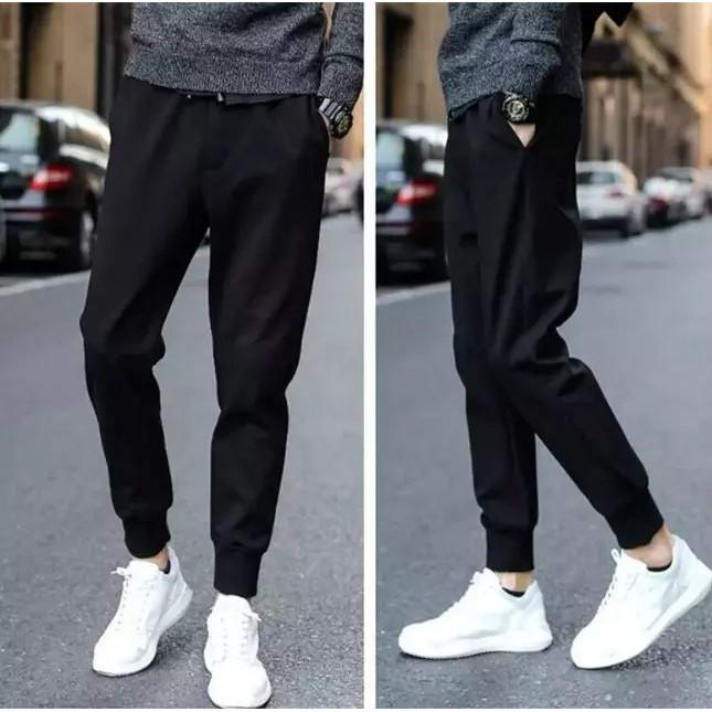 男生 褲春夏薄款 透氣款 休閒衛褲青少年修身情侶款男彈力長褲子黑色