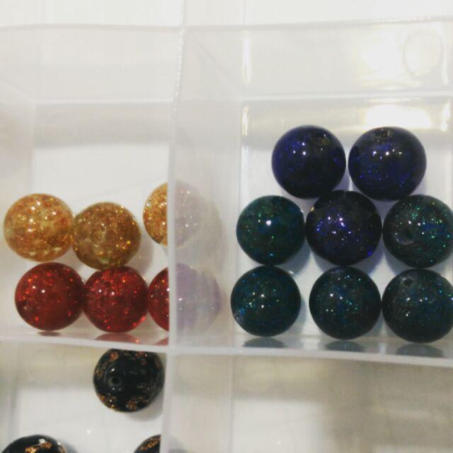 金沙琉璃珠四色合賣12mm 手作飾品素材阿林