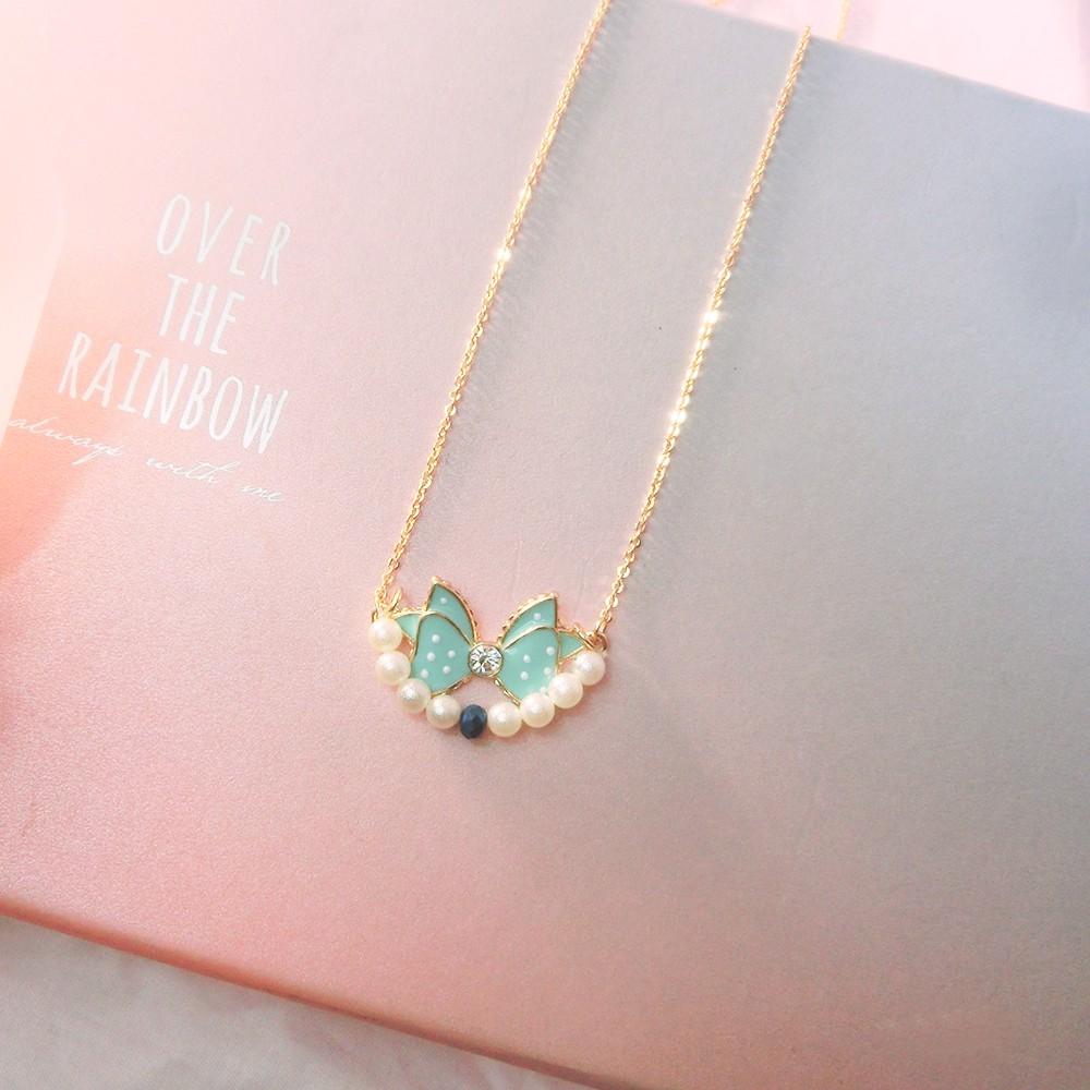 24 小時 出貨 t48 日韓系甜美可愛珍珠藍色蝴蝶結金色長項鍊毛衣鍊