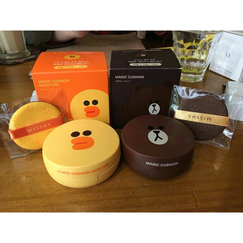 韓國MISSHA 聯名款Line 熊大輕透裸光無暇氣墊粉餅SPF50 PA 韓國購入1 本