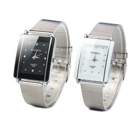 水晶手鍊表女性不銹鋼石英手錶女士長方形錶盤腕錶