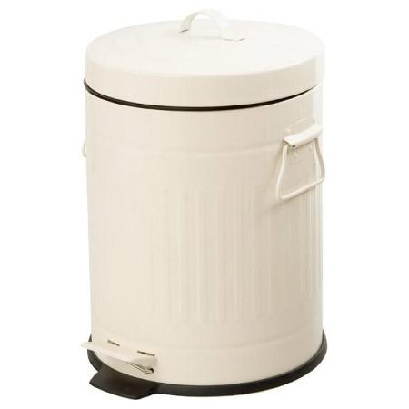 ~ NITORI ~象牙白色腳踏式垃圾桶5L 鋼質垃圾桶復古腳踏垃圾桶腳踩踏板垃圾桶垃圾筒