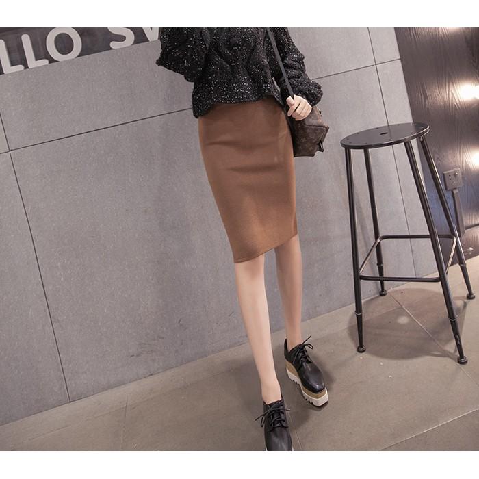 MMC ZARA 款 氣質性感後開叉緊身合身彈性包臀修身顯瘦素面純色細針織及膝裙窄裙鉛筆裙
