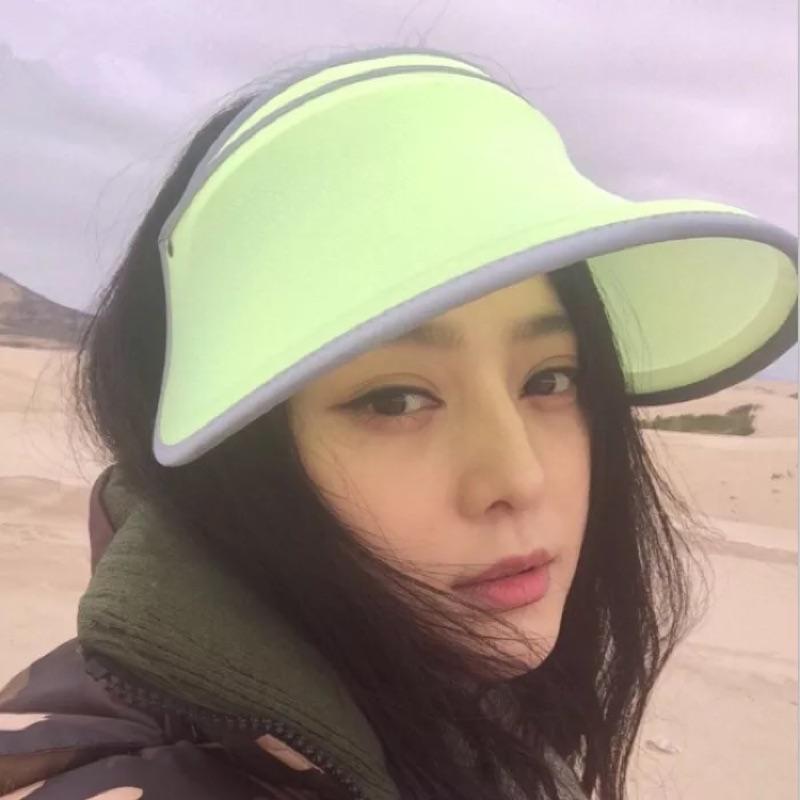 紫1 組(范冰冰同款遮陽帽可折疊防曬太陽帽女夏天遮陽防紫外線空頂帽
