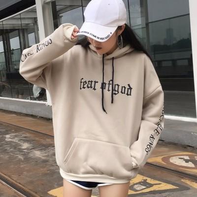 ~299   ~▲寬鬆長袖帽T ▲2017 女生衣著韓國秋裝新品休閒套頭圓領連帽印花字母加