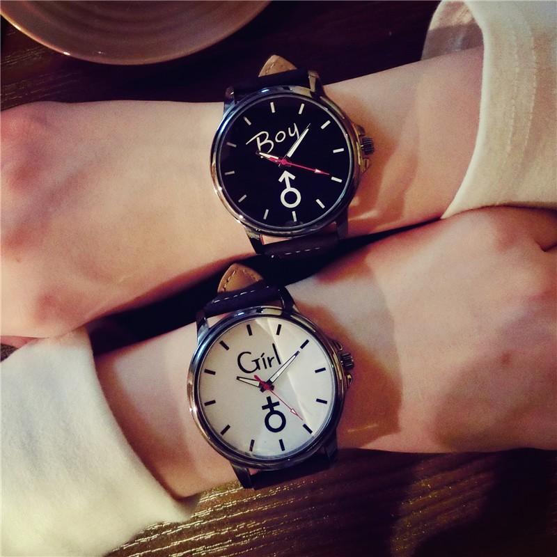 壹號人家韓式 復古潮男女學生大表盤 帶字 簡約情侶手表一對