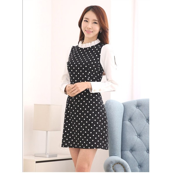 XL 韓國東大門直送 修身 雪紡打底裙子洋裝圓點連身裙波點潮流新品女裝