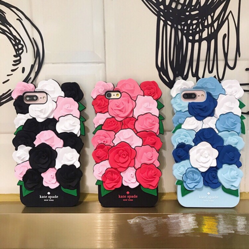 katespade 玫瑰花iPhone6s 手機殼7puls 軟矽膠防摔保護套7 代全包女