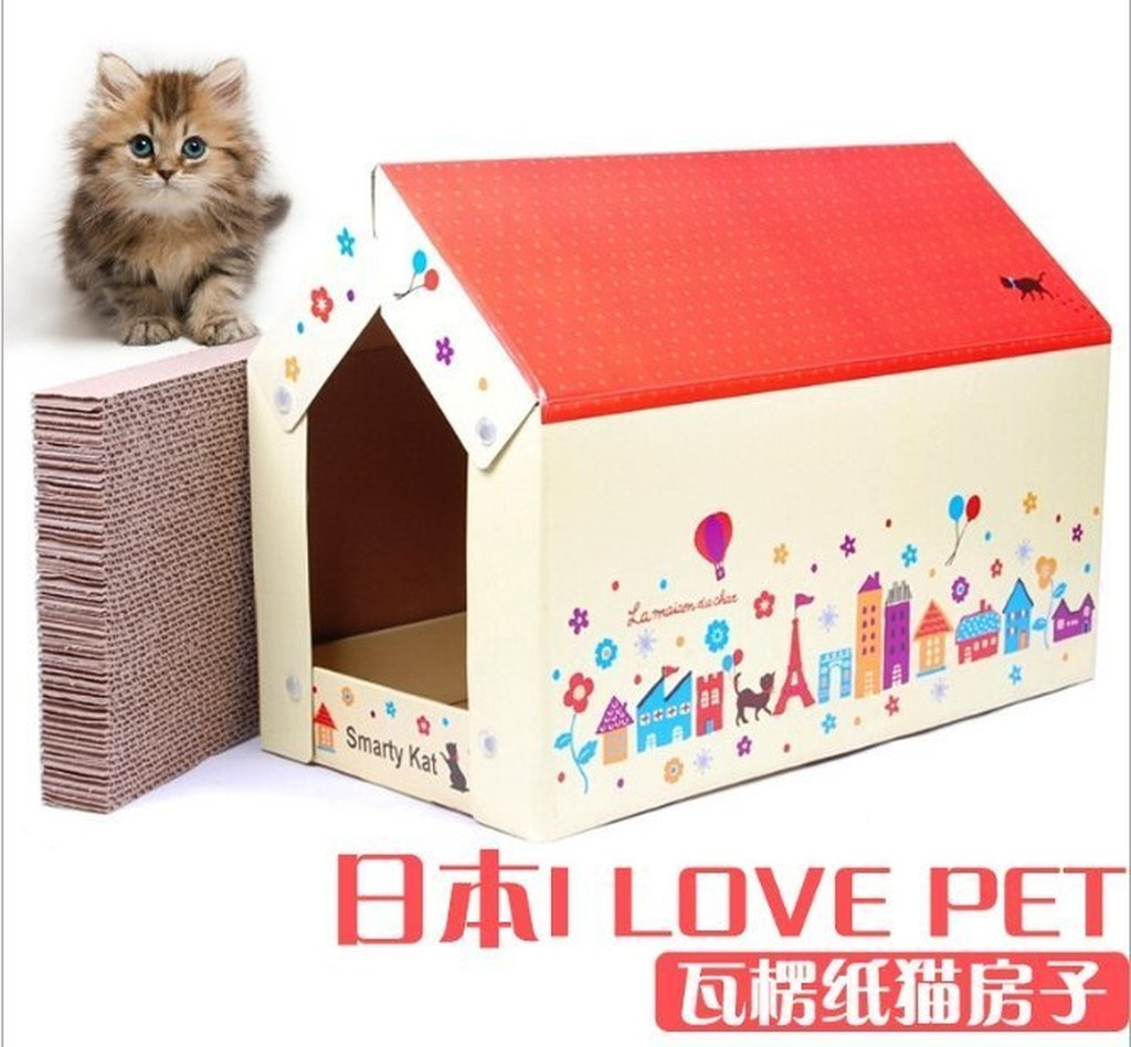 寵舖中壢寵物 用品 ~寵物貓抓板房玩具 I LOVE PET 瓦楞紙貓房子~