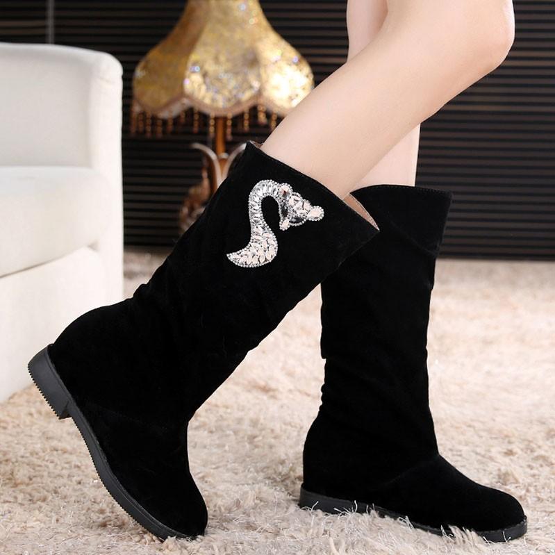 ☞☞☞ギケグn2015 秋 女式靴子平底女靴女士長筒靴 高筒內增高及膝靴