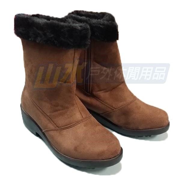 女雪靴雪鞋魅力款加長 暖毛雪鞋附冰爪雪靴防潑水出國賞雪JH 326L 咖啡