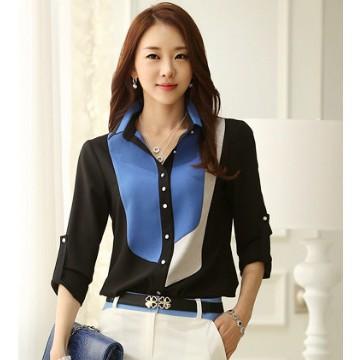 女式襯衫加大碼藍色和黑色