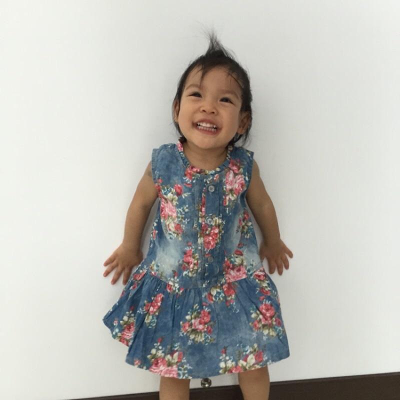 謙媽小舖( )外貿女童無袖水洗軟牛仔花裙連衣裙